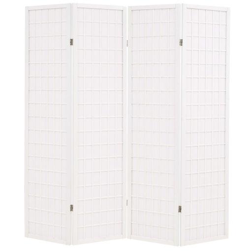 Immagine di Paravento Pieghevole 4 Ante Stile Giapponese 160x170cm Bianco