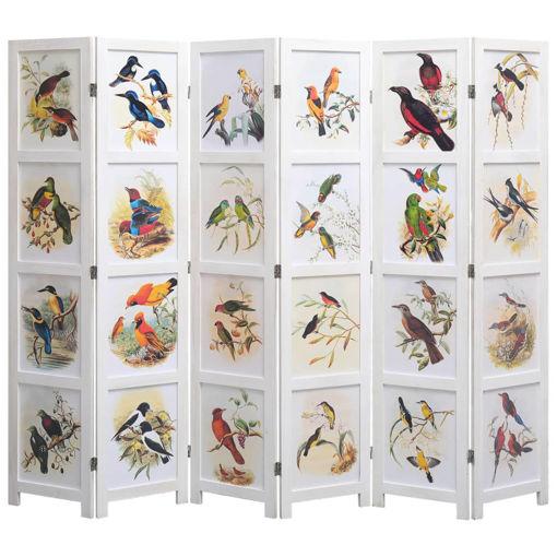 Immagine di Divisorio a 6 Pannelli Bianco 210x165 cm Motivo Uccelli