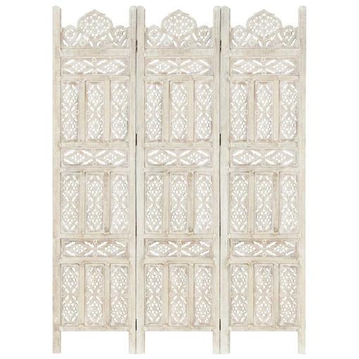 Immagine di Divisorio 3 Pannelli Intagliato Bianco 120x165cm Mango Massello
