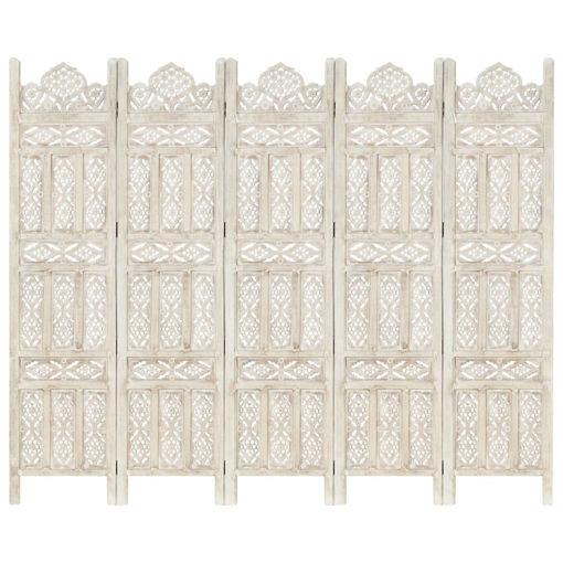 Immagine di Divisorio 5 Pannelli Intagliato Bianco 200x165cm Mango Massello