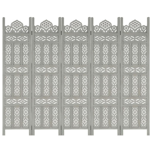 Immagine di Divisorio 5 Pannelli Intagliato Grigio 200x165cm Mango Massello