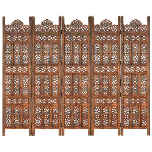 Immagine di Divisorio 5 Pannelli Intaglio Marrone 200x165 cm Mango Massello