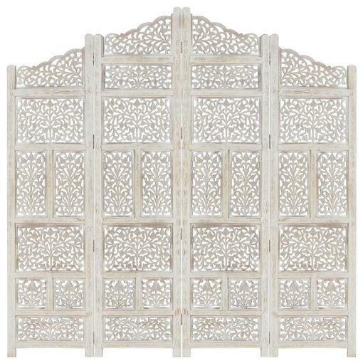 Immagine di Divisorio 4 Pannelli Intagliato Bianco 160x165cm Mango Massello