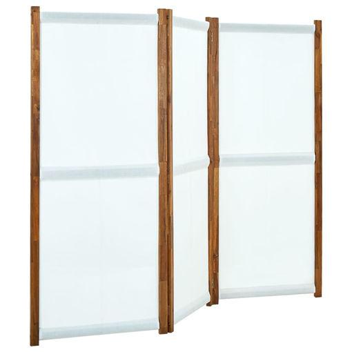 Immagine di Paravento a 3 Pannelli Bianco Crema 210x170 cm