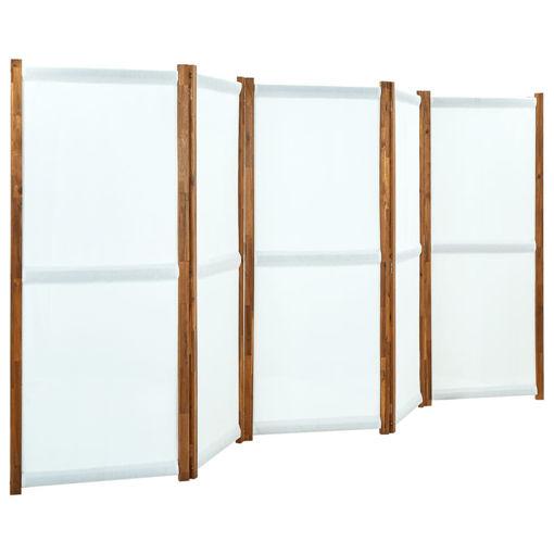 Immagine di Paravento a 5 Pannelli Bianco Crema 350x170 cm