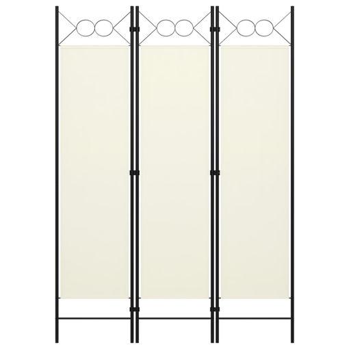 Immagine di Paravento a 3 Pannelli Bianco Crema 120x180 cm