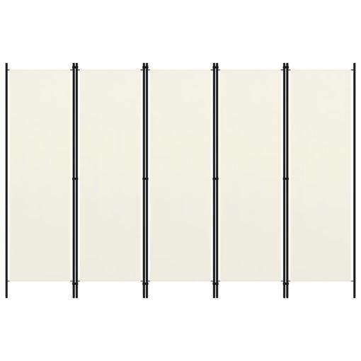 Immagine di Paravento a 5 Pannelli Bianco Crema 250x180 cm