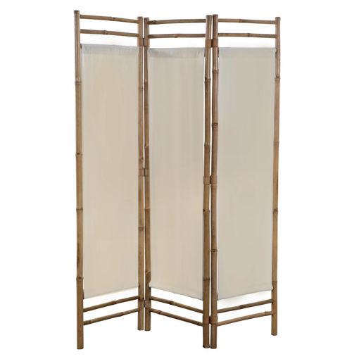 Immagine di Paravento Pieghevole a 3 Pannelli in Bambù e Tela 120 cm