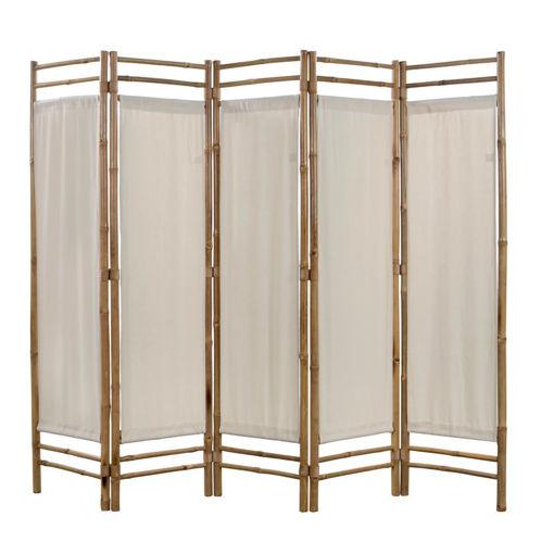 Immagine di Paravento Pieghevole a 5 Pannelli in Bambù e Tela 200 cm