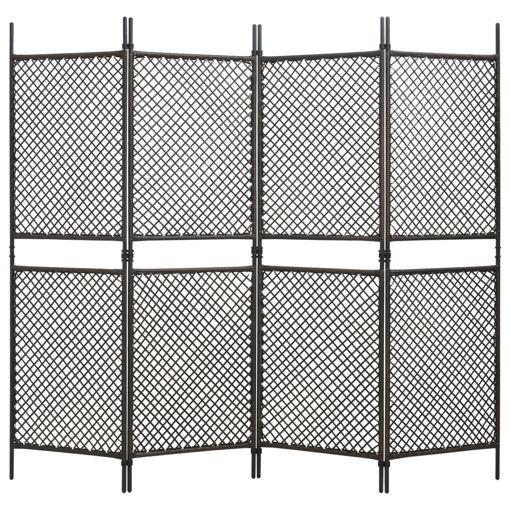 Immagine di Paravento a 4 Pannelli in Polyrattan Marrone 240x200 cm
