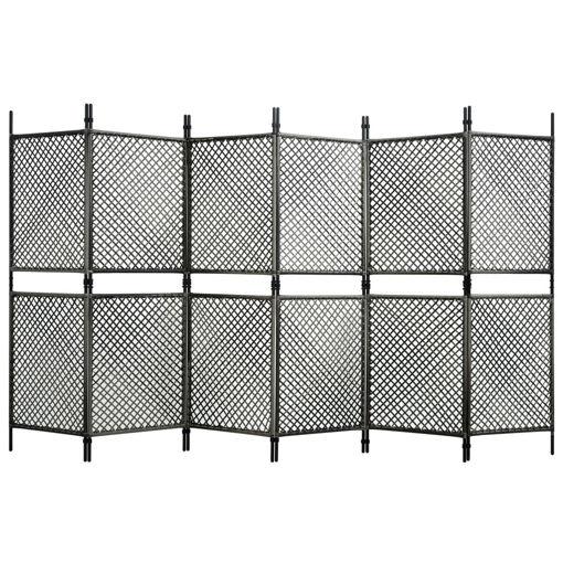 Immagine di Paravento a 6 Pannelli in Polyrattan Antracite 360x200 cm