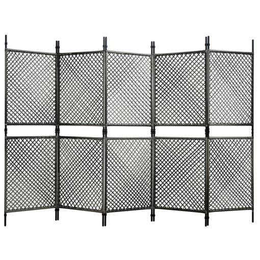 Immagine di Paravento a 5 Pannelli in Polyrattan Antracite 300x200 cm
