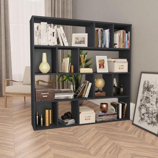 Immagine di Libreria/Divisorio Nero Lucido 110x24x110 cm in Truciolato