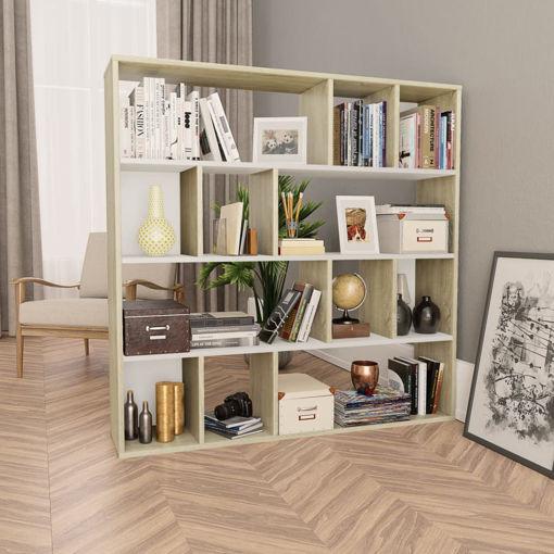 Immagine di Libreria/Divisorio Bianco Rovere Sonoma 110x24x110cm Truciolato